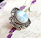 Prstene - Vintage Blue Opal Ring / Vintage prsteň s modrým opálom #1479 - 10354742_