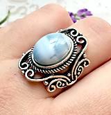 Prstene - Vintage Blue Opal Ring / Vintage prsteň s modrým opálom #1479 - 10354746_