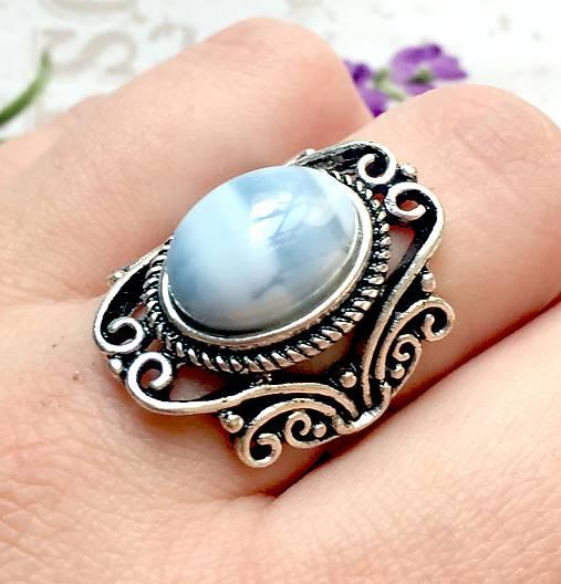 Vintage Blue Opal Ring / Vintage prsteň s modrým opálom #1479