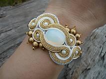 - VÝPREDAJ! Soutache Svadobný náramok Luxury White Opal&Gold - 10355170_