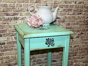 Nábytok - Stolík vysoký 75 cm - Belle Rose MINT - 10353734_