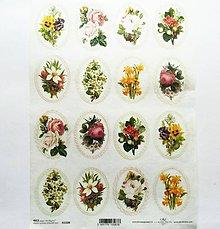 Papier - Ryžový papier na decoupage -A4-R1328 - ruža, sirôtka, kvety - 10351346_