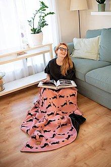 """Úžitkový textil - Pletená deka, """"kitty"""", OEKO-TEX® - Staroružová/Čierna - 10352503_"""