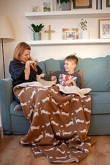 """Úžitkový textil - Pletená deka, """"Kitty"""", OEKO-TEX® - Hnedá/Smotanová - 10352696_"""
