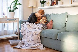"""Úžitkový textil - Pletená deka, """"Kitty"""", OEKO-TEX® - Bielo/Šedá - 10352922_"""