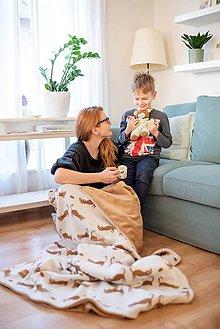 """Úžitkový textil - Pletená deka, """"Kitty"""", OEKO-TEX® - Béžovo/Hnedá - 10353062_"""