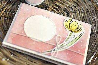 Papiernictvo - Kvietok pre Teba I. (Žltý kvietok na ružovom podklade) - 10353202_