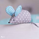 Hračky - Myška s tyrkysovými cik-cak uškami - 10354044_