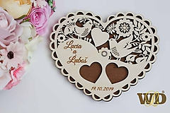 Prstene - Tanierik na obrúčky Ľudové srdce - 10354424_