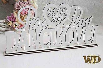 Dekorácie - Spoločné priezvisko +mená+dátum svadby - na podstavci - 10354414_