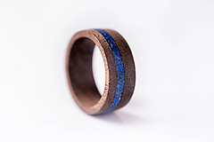 Prstene - Drevený prsteň Orech + Lapis Lazuly - 10351584_