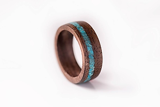 Prstene - Drevený prsteň - Orech + tyrkys - 10351638_