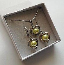 Sady šperkov - Darček k obj. nad 10,- eur - perličková sada  (žltá) - 10354146_