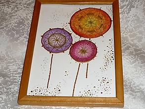 Obrazy - A5-Obrázok,pohľadnica - Mandalkové kvety - 10355051_
