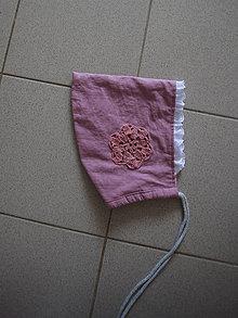 Detské čiapky - Ľanový čepček fiaľový - 10354297_