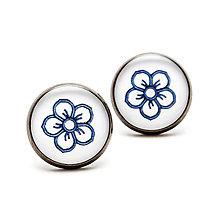 Náušnice - Séria Folk Minimal - Kvetinka ornament modrý - 10351318_