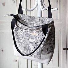 Kabelky - Plátenná kabelka *čierne kvety* - 10352189_