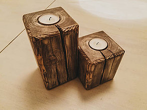 Svietidlá a sviečky - Drevený masívny svietnik (set) - 10351590_