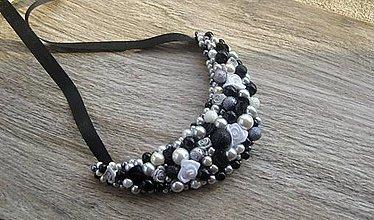 Náhrdelníky - FOR YOU perlový náhrdelník (black and white roses , č. 2561) - 10352904_