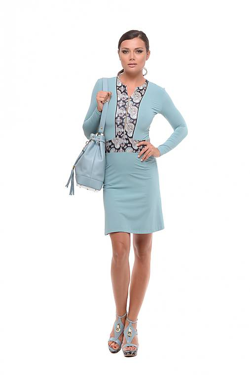 Krátke šaty na zips modré