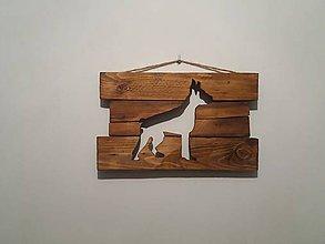 Obrazy - Podsvietený drevený obraz Doberman - 10354194_