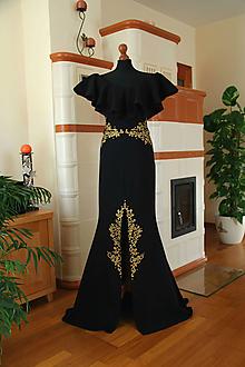 Šaty - Zlatá maľba na čierne šaty... - 10352565_