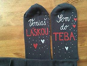 """Obuv - Maľované šedé ponožky s nápisom: """"Voniaš láskou/Som do TEBA"""" - 10355143_"""