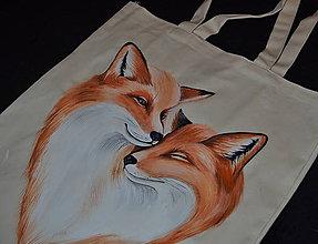 Nákupné tašky - ručne maľovana taška - zaľúbené líšky - 10352647_