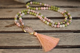 Náhrdelníky - Mala náhrdelník s ruženínom a minerálmi jaspis a jadeit - 10354565_