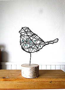 Socha - vtáčik smaragdový ( väčší) - 10353060_