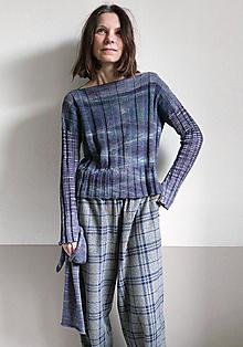 Svetre/Pulóvre - tmavofialovomodrý pulover a šál - 10354278_