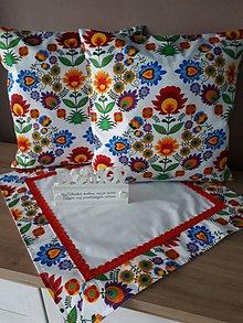 Úžitkový textil - Folk sada (Pestrofarebné kvety) - 10358637_
