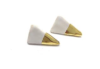 Náušnice - naušničky - keramika/zlato - 10357317_