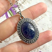 Náhrdelníky - Iolite & Antique Silver Necklace / Náhrdelník s iolitom v starostriebornom prevedení #1483 - 10358145_
