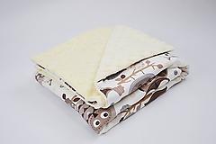 Textil - Minky deka creamy s hnedými sovičkami 70*100cm - 10355979_
