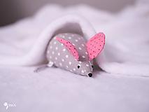 Hračky - Myška s malinovými uškami - 10355560_
