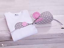 Detské oblečenie - SET MYŠKA  body + hračka (ružové uško) - 10355901_