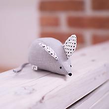 Hračky - Myška s čiernymi bodkami na uškách - 10356381_