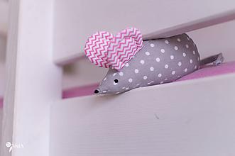 Hračky - Myška s ružovými cik-cak uškami - 10356601_