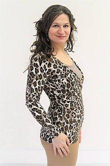 Tehotenské/Na dojčenie - Dojčiace tričko 3v1 dl. rukáv - LEOPARD s farebnou vsadkou - 10355372_