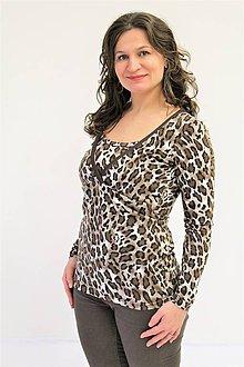 Tehotenské/Na dojčenie - Dojčiace tričko 3v1 dl. rukáv - LEOPARD s  farebným lemem a vsadkou - 10355388_