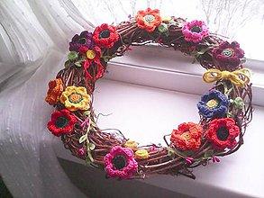 Dekorácie - Veniec na dvere ... kvety všetkých farieb ... - 10357975_