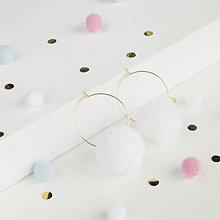 Náušnice - Biele brmbolcové náušničky - 10357719_
