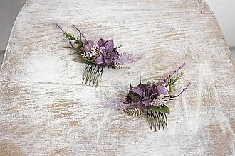 Ozdoby do vlasov - Kvetinový mini hrebienok - 10356997_