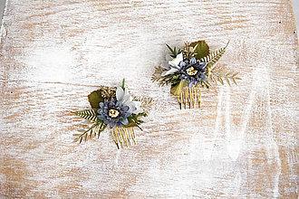 Ozdoby do vlasov - Kvetinový mini hrebienok - 10357063_