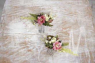 Ozdoby do vlasov - Kvetinový mini hrebienok - 10357075_