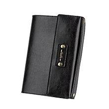 Papiernictvo - Kožený obal na diár/zápisnik, A5 (Čierna) - 10358049_
