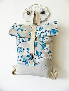 Batohy - Rolltop batoh biely rozkvet - 10356446_