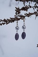 Náušnice - Šedo - fialové olivy - 10358252_