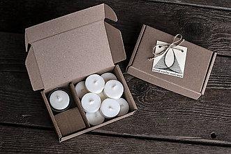 Svietidlá a sviečky - Sójové čajové sviečky 10 ks plus sklený svietniček - 10355943_